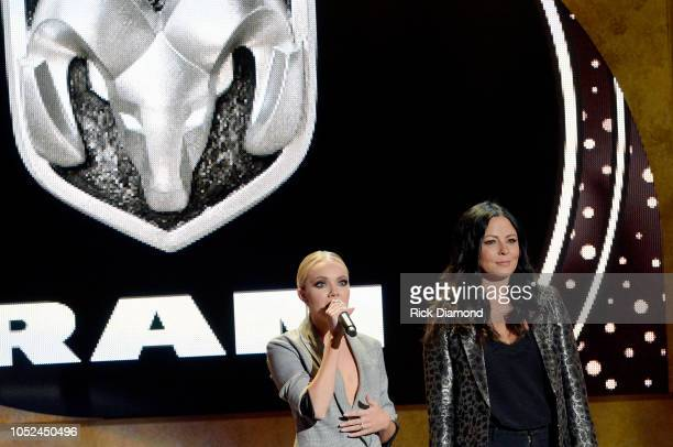 Danielle Bradbery and Sara Evans speak onstage during the 2018 CMT Artists of The Year at Schermerhorn Symphony Center on October 17 2018 in...