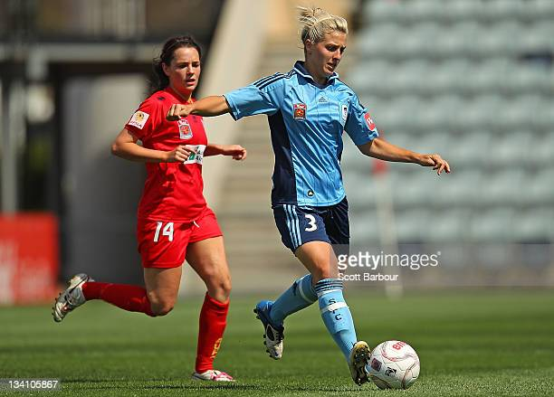 Danielle Brogan of Sydney FC and Donna Cockayne of United compete for the ball during the round six WLeague match between Adelaide United and Sydney...