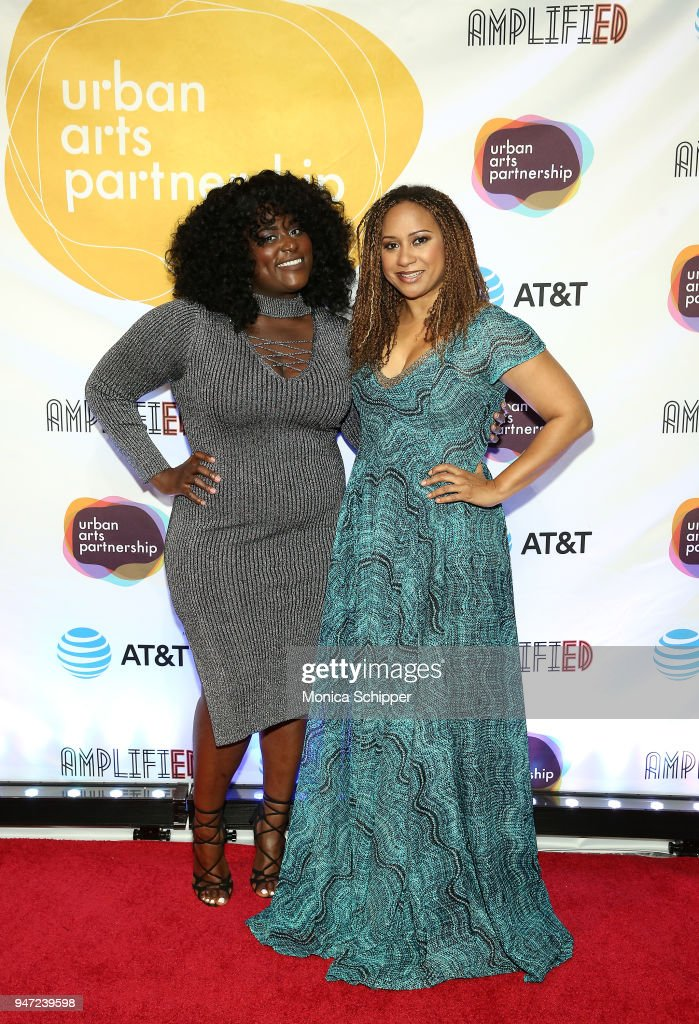 Danielle Brooks (L) and Tracie Thoms attend the Urban Arts Partnership's AmplifiED Gala at The Ziegfeld Ballroom on April 16, 2018 in New York City.