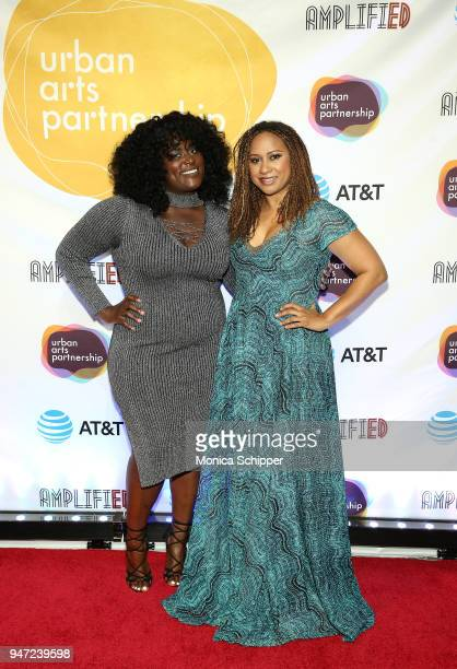 Danielle Brooks and Tracie Thoms attend the Urban Arts Partnership's AmplifiED Gala at The Ziegfeld Ballroom on April 16 2018 in New York City