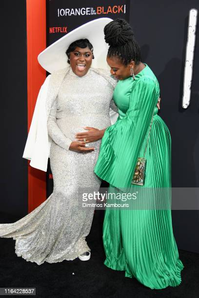 """Danielle Brooks and Uzo Aduba attend the """"Orange Is The New Black"""" Final Season World Premiere at Alice Tully Hall, Lincoln Center on July 25, 2019..."""