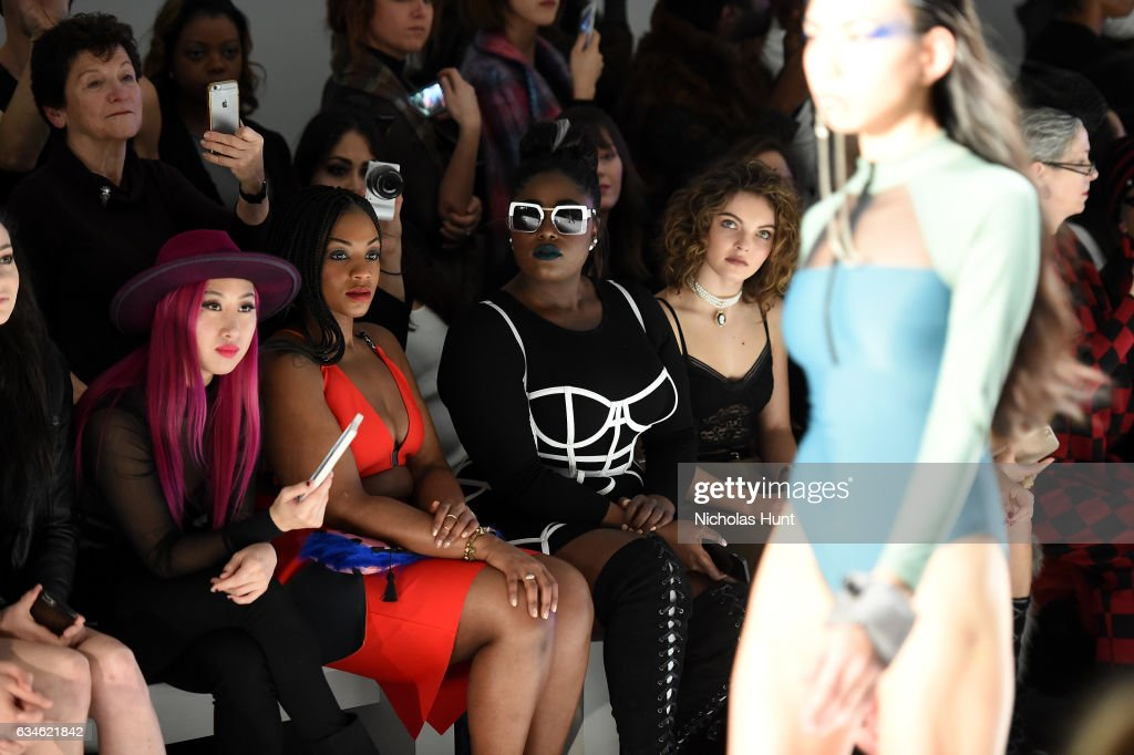 Danielle Brooks, Camren Bicondova and Kat DeLuna attend the Chromat collection front row during New York Fashion Week: The Shows at Gallery 3, Skylight Clarkson Sq on February 10, 2017 in New York City.