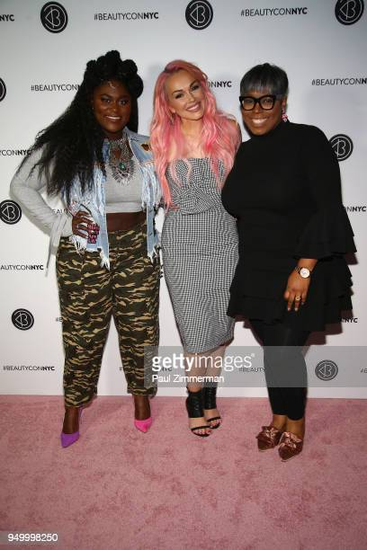 Danielle Brooks Kandee Johnson and Ty Alexander attend Beautycon Festival NYC 2018 Day 2 at Jacob Javits Center on April 22 2018 in New York City