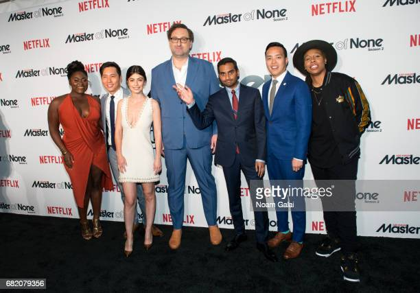 Danielle Brooks Kelvin Yu Alessandra Mastronardi Eric Wareheim Aziz Ansari Alan Yang and Lena Waithe attend Master Of None Season 2 premiere at SVA...