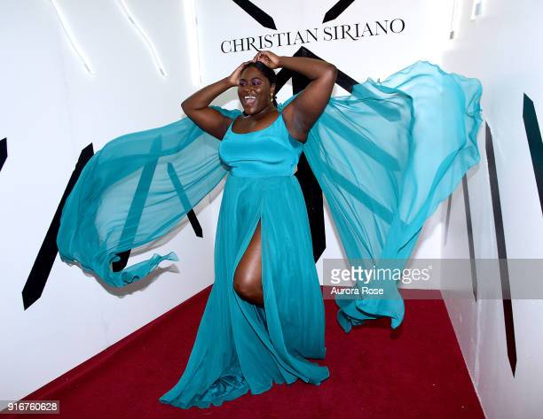 Danielle Brooks poses backstage at the Christian Siriano show at The Grand Lodge on February 10 2018 in New York City