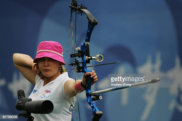 Danielle Brown of Great Britain releases an arrow on her way to winning the Women's Ind Compound Open in the Archery event at the Olympic Green...