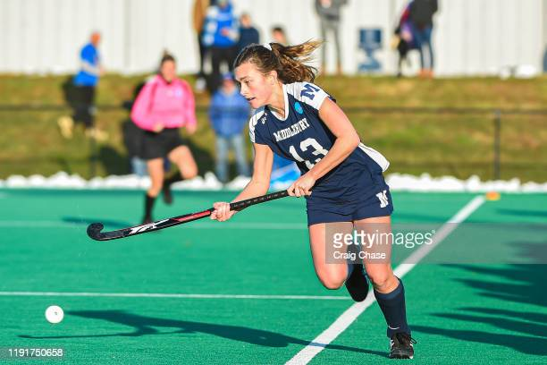 Danielle Brown of Middlebury dribbles down the sideline during the Division III Women's Field Hockey Championship held at Spooky Nook Sports on...