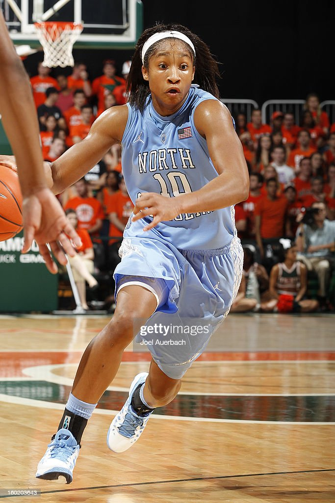 Danielle Butts #10 of the North Carolina Tar Heels dribbles to the basket against the Miami Hurricanes on January 27, 2013 at the BankUnited Center in Coral Gables, Florida. The Tar heels defeated the hurricanes 64-62.