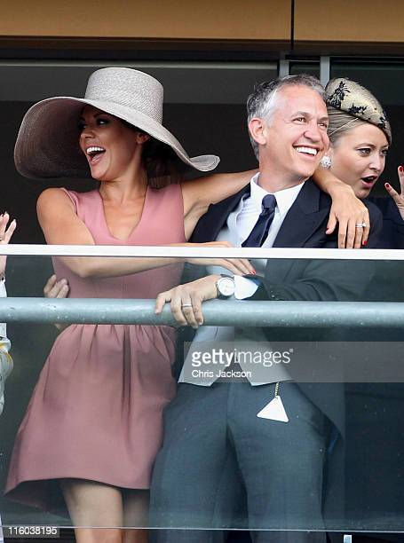 Danielle Bux and Gary Lineker watch horses cross the finish line on the opening day of Royal Ascot at Ascot Racecourse on June 14 2011 in Ascot...