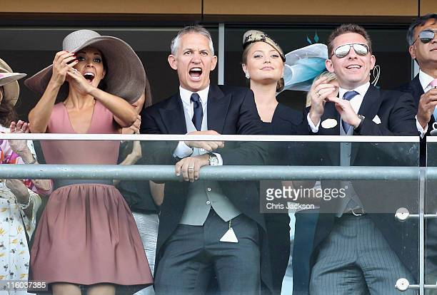 Danielle Bux Gary Lineker Holly Valance and Nick Candy watch horses cross the finish line on the opening day of Royal Ascot at Ascot Racecourse on...