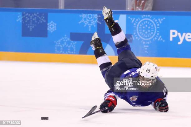 Danielle Cameranesi of the United States dives for the puck in the third period against Olympic Athletes from Russia during the Women's Ice Hockey...