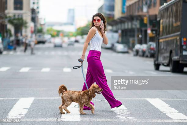 Danielle Campbell is seen wearing an Isabel Marant top Trina Turk pants BCBG shoes and Bulgari sunglasses in Chelsea on June 19 2018 in New York City