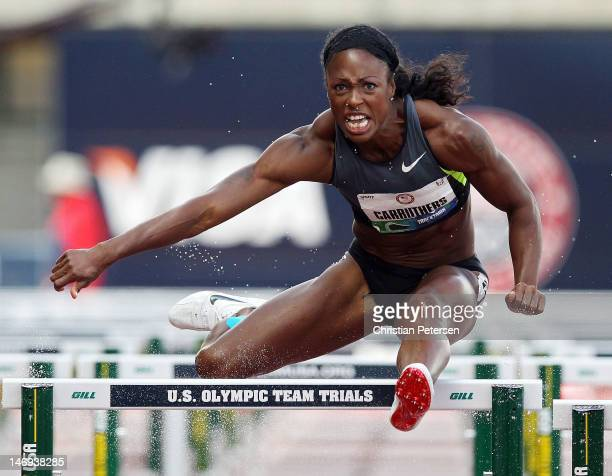Danielle Carruthers competes in the women's 100 meter hurdles semifinal during Day Two of the 2012 US Olympic Track Field Team Trials at Hayward...