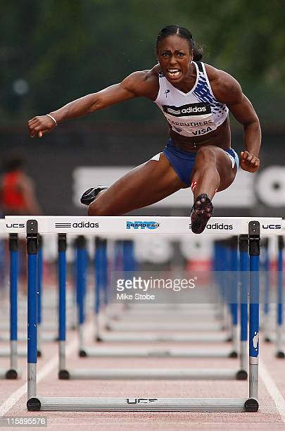 Danielle Carruthers of the USA races en route to winning the 100m Women's Hurdle during the adidas Grand Prix at Icahn Stadium on June 11 2011 in New...