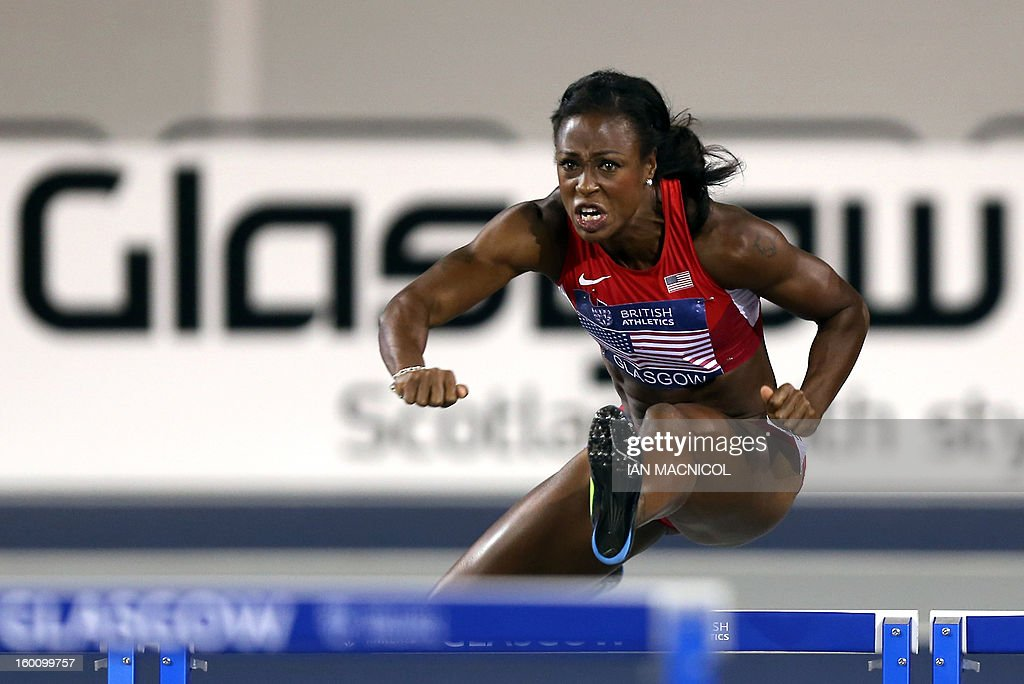 Danielle Carruthers of USA competes in the Women's 60m Hurdles during The British Athletics Glasgow International Match at The Emirates Arena in Glasgow, Scotland, on January 26, 2013.
