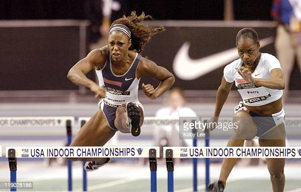 Danielle Carruthers won the women's 60-meter hurdles in 7.95 seconds in the USA Track & Field Indoor Championship. Michelle Perry was sixth in 8.35.
