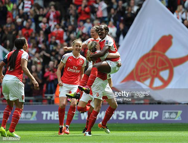 Danielle Carter celebrates scoring a goal for Arsenal Ladies during the match between Arsenal Ladies and Chelsea Ladies at Wembley Stadium on May 14...