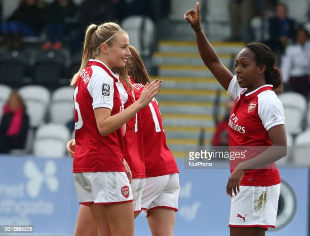 Danielle Carter of Arsenal celebrates scoring her sides fourth goal during SSE Women's FA Cup quarter_final match between Arsenal against Charlton...