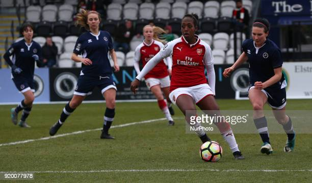 Danielle Carter of Arsenal during The FA Women's Cup Fifth Round match between Arsenal against Millwall Lionesses at Meadow Park Borehamwood FC on 18...