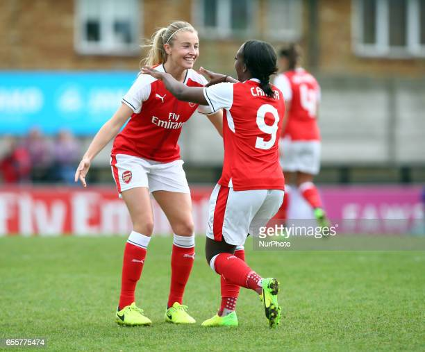 Danielle Carter of Arsenal Ladies celebrates her goal with Leah Williamson of Arsenal Ladies during The SSE FA Women's Cup Fifth Round match between...