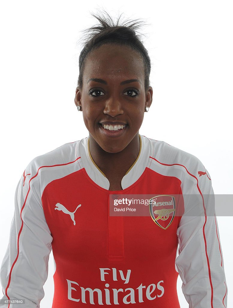 Danielle Carter of Arsenal Ladies poses at London Colney on March 24, 2015 in St Albans, England.