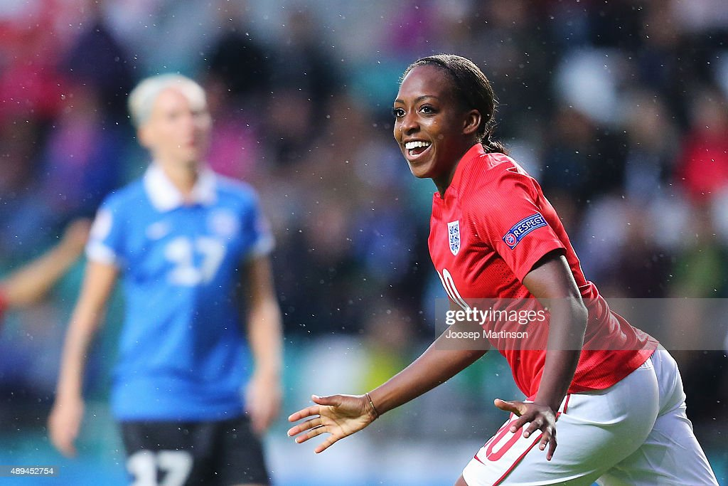Danielle Carter of England celebrates scoring a goal during UEFA Women's Euro 2017 Qualifier match between Estonia and England at A Le Coq Arena on September 21, 2015 in Tallinn, Estonia.