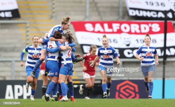 Danielle Carter of Reading celebrates with team mates after scoring their side's second goal during the Barclays FA Women's Super League match...