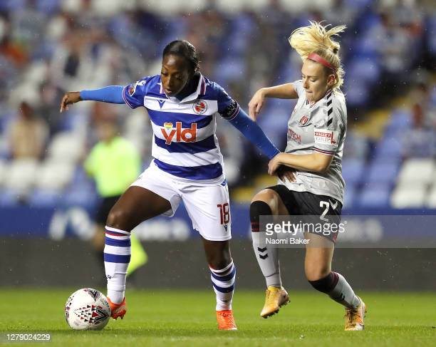 Danielle Carter of Reading FC Women is challenged by Rachel Newborough of Charlton Athletic Women during the FA Women's Continental League Cup match...