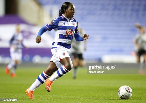 Danielle Carter of Reading FC Women runs with the ball on her way to scoring her team's first goal during the FA Women's Continental League Cup match...