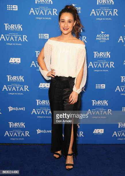 Danielle Catanzariti arrives ahead of TORUK The First Flight by Cirque du Soleil at Qudos Bank Arena on October 19 2017 in Sydney Australia