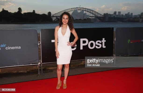 Danielle Catanzariti arrives at the Australian premiere of 'The Post' on opening night at the St George OpenAir Cinema at Mrs Macquaries Point on...