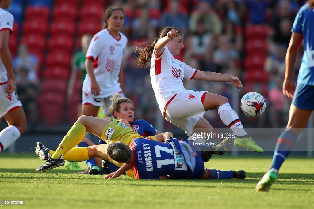 Danielle Colaprico of Adelaide clears the ball during the round 11 W-League match between the Newcastle Jets and Adelaide United at McDonald Jones Stadium on January 12, 2018 in Newcastle, Australia.