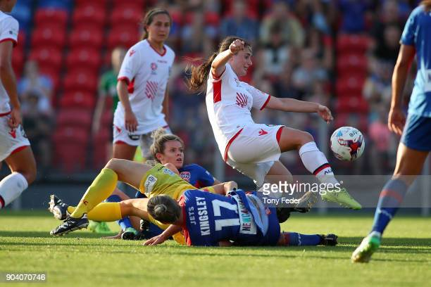 Danielle Colaprico of Adelaide clears the ball during the round 11 WLeague match between the Newcastle Jets and Adelaide United at McDonald Jones...