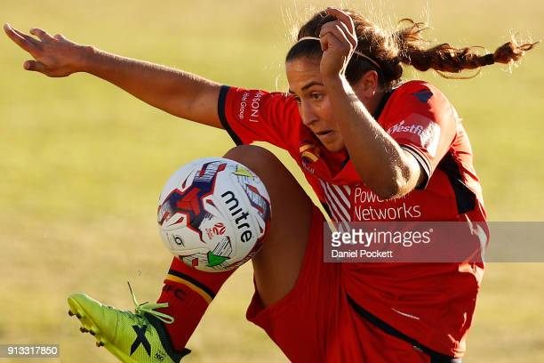 Danielle Colaprico of Adelaide United controls the ball during the round 14 WLeague match between Adelaide United and the Melbourne Victory at Marden...