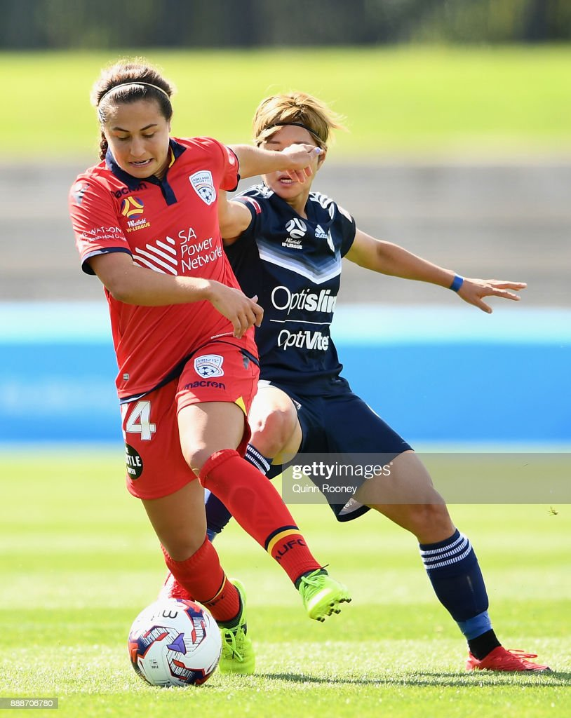 Danielle Colaprico of Adelaide United controls the ball infront of Ga Eul Jeon of the Victory during the round seven W-League match between the Melbourne Victory and Adelaide United at Lakeside Stadium on December 9, 2017 in Melbourne, Australia.