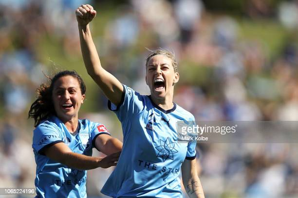 Danielle Colaprico of Sydney FC celebrates with Alanna Kennedy of Sydney FC as she celebrates scoring a goal during the round four WLeague match...