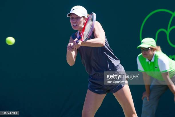Danielle Collins in action on Day 5 of the Miami Open Presented at Crandon Park Tennis Center on March 23 in Key Biscayne FL