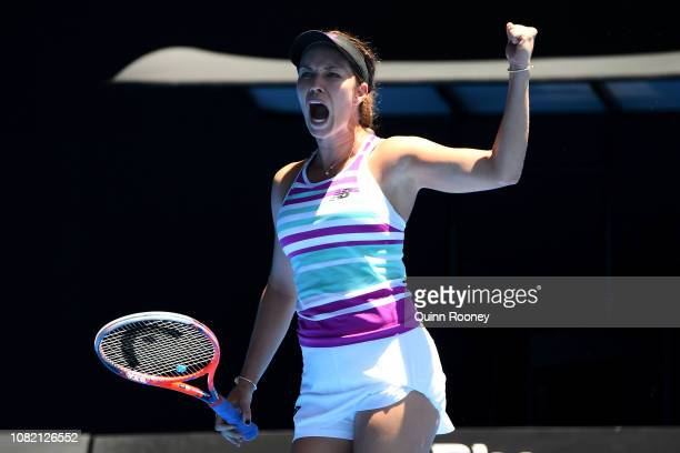 Danielle Collins of the United States celebrates a point in her first round match against Julia Goerges of Germany during day one of the 2019...