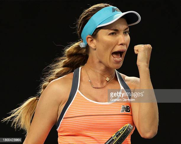 Danielle Collins of the United States celebrates a point in her match against Serena Williams of the United States during day six of the WTA 500...