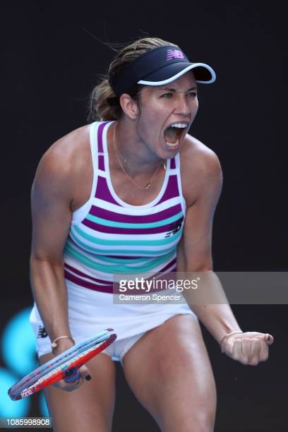 Danielle Collins of the United States celebrates winning a point in her quarter final match against Anastasia Pavlyuchenkova of Russia during day...
