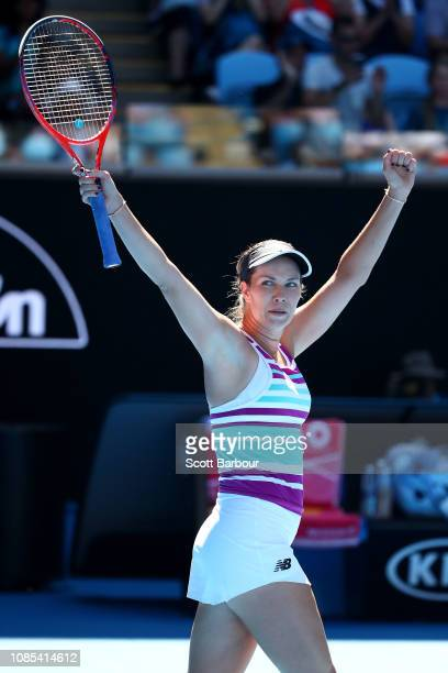 Danielle Collins of the United States celebrates winning her fourth round match against Angelique Kerber of Germany during day seven of the 2019...