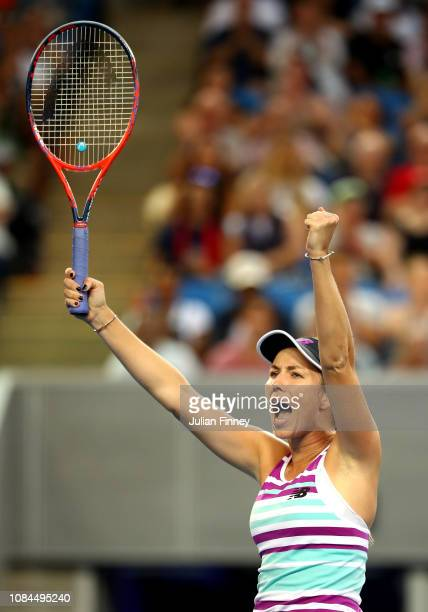Danielle Collins of the United States celebrates winning match point in her third round match against Caroline Garcia of France during day five of...