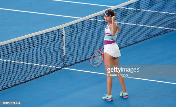 Danielle Collins of the United States celebrates winning match point in her quarter final match against Anastasia Pavlyuchenkova of Russia during day...