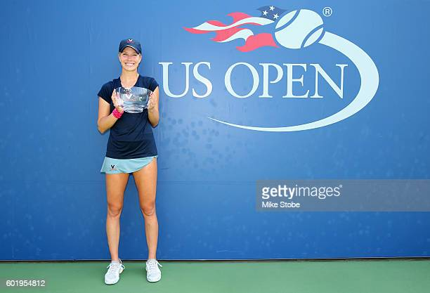 Danielle Collins of the United States celebrates with the trophy after defeating Ronit Yurovsky of the United States in the Women's Collegiate...