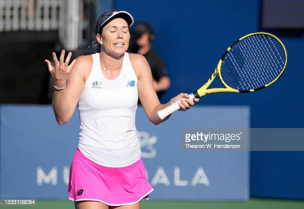 Danielle Collins of the United States complains of crown noise to the chair umpire during play against Daria Kasatkina of Russia in the singles...
