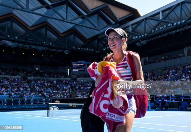 Danielle Collins of the United States leaves the court after beating Angelique Kerber of Germany during day seven of the 2019 Australian Open at...