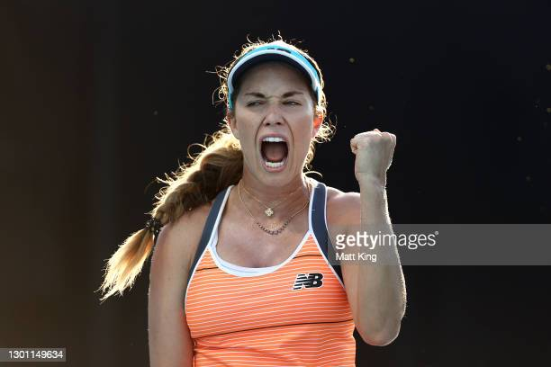 Danielle Collins of The United States of America celebrates after winning a point in her Women's Singles first round match against Ana Bogdan of...