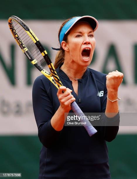 Danielle Collins of The United States of America celebrates after winning the first set during her Women's Singles fourth round match against Ons...