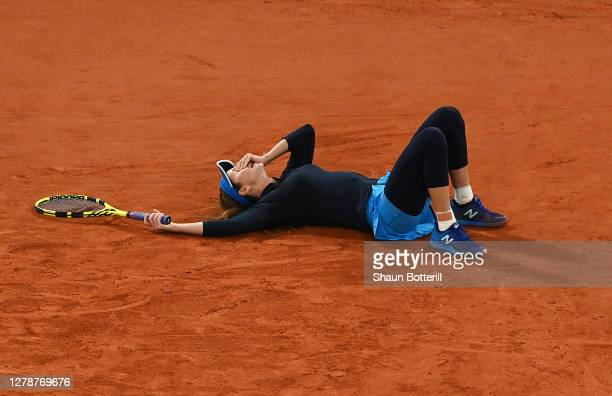 Danielle Collins of The United States of America celebrates after winning match point during her Women's Singles fourth round match against Ons...