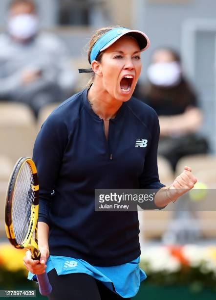 Danielle Collins of The United States of America celebrates after winning the second set during her Women's Singles quarterfinals match against Sofia...